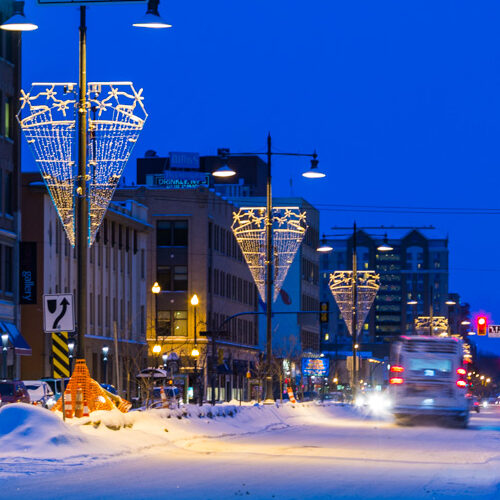 Downtown Saskatoon, winter night